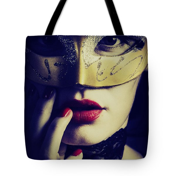 Woman With Mask Tote Bag