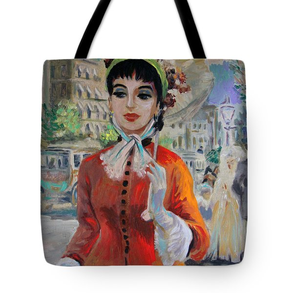 Woman With Parasol In Paris Tote Bag