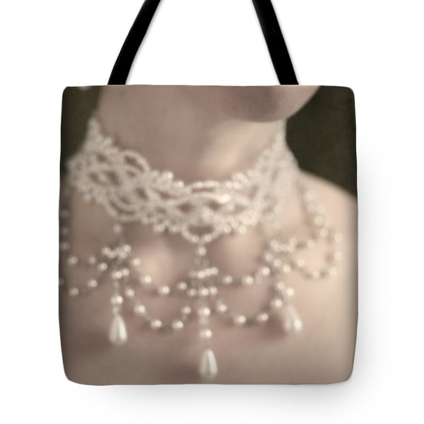 Woman With Pearl Choker Necklace Tote Bag by Lee Avison