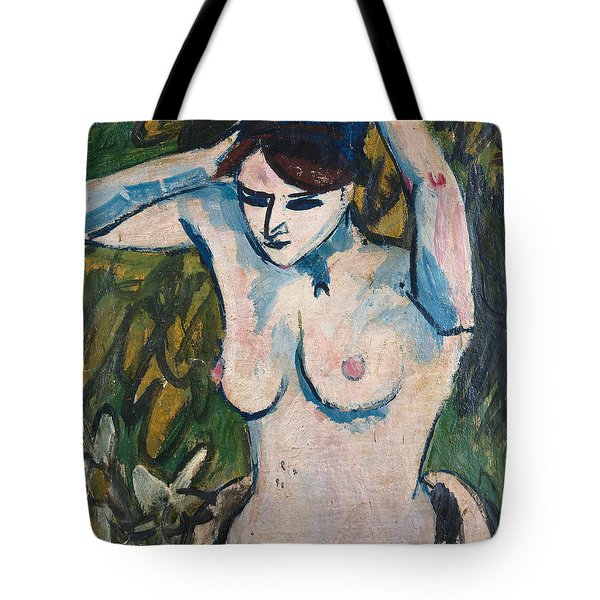 Woman With Raised Arms Tote Bag by Ernst Ludwig Kirchner