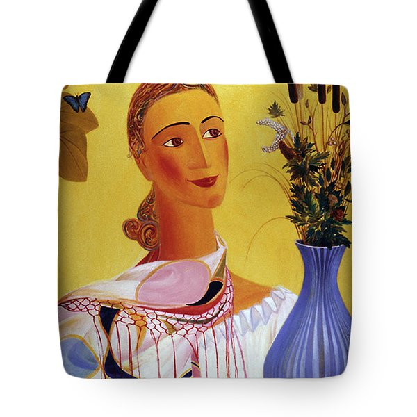 Woman With Shawl Tote Bag