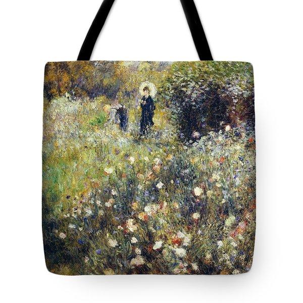 Woman With Umbrella In Garden Tote Bag by Pierre-Auguste Renoir