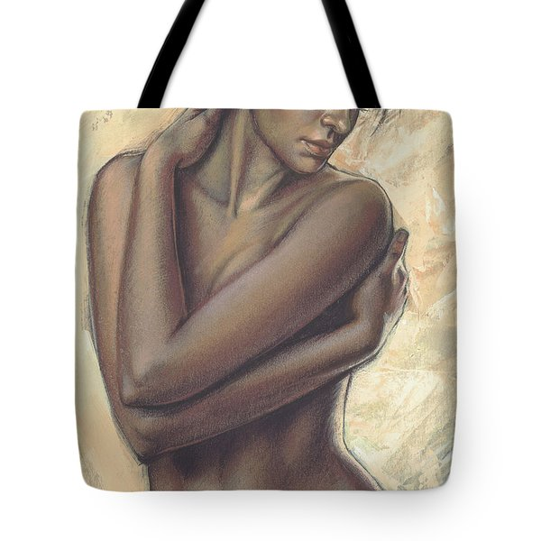 Woman With White Drape Crop Tote Bag by Zorina Baldescu
