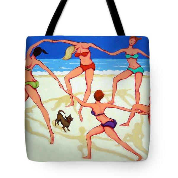 Women Dancing On Beach - Happy Dance Tote Bag by Rebecca Korpita