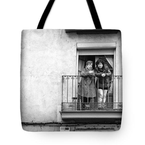 Women In Balcony Tote Bag
