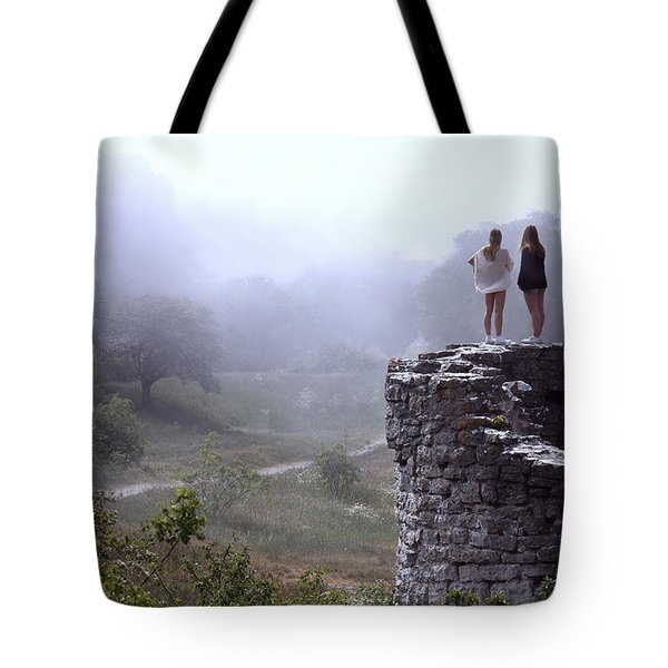 Women Overlooking Bright Foggy Valley Tote Bag