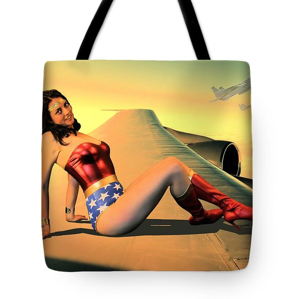 Wonder Warrior Hitching A Ride Tote Bag