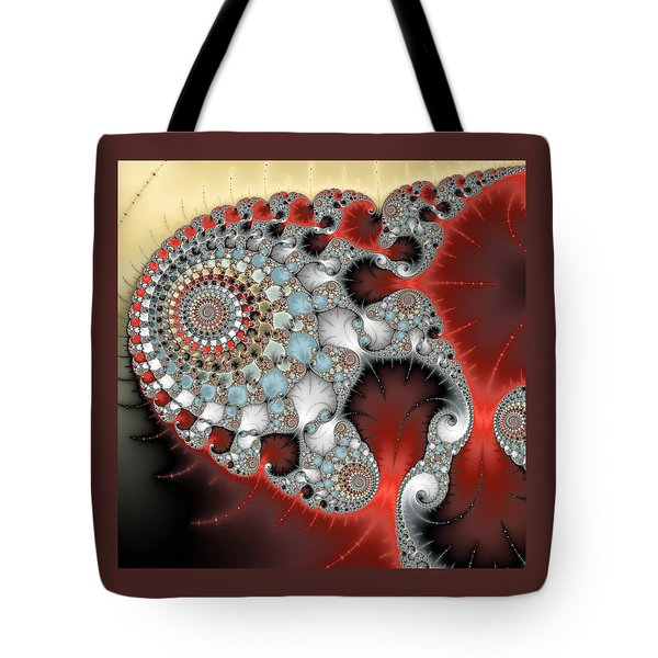 Wonderful Abstract Fractal Spirals Red Grey Yellow And Light Blue Tote Bag
