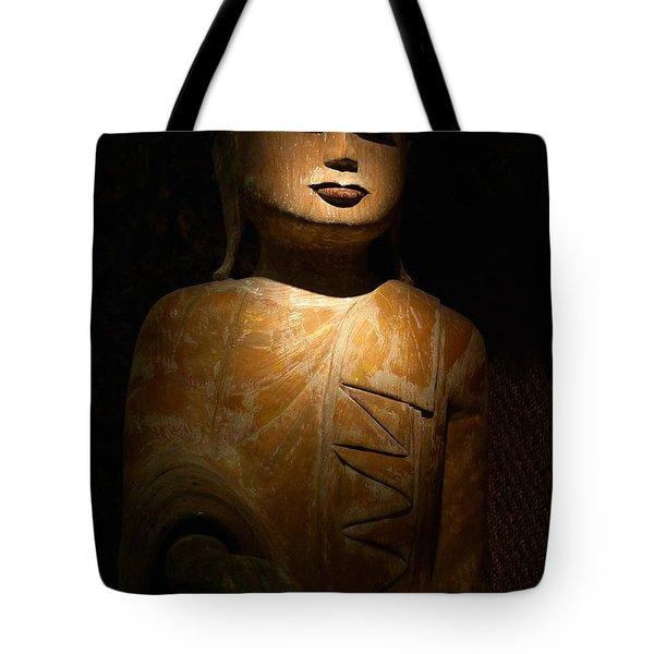 Wood Buddha Statue Tote Bag