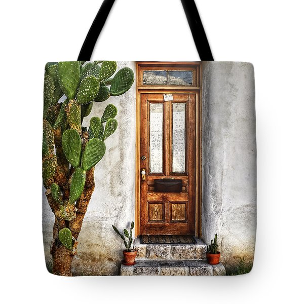 Tote Bag featuring the photograph Wood Door In Tuscon by Ken Smith
