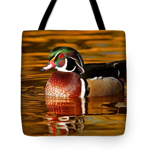 Wood-drake On The Golden Light Tote Bag by Mircea Costina Photography