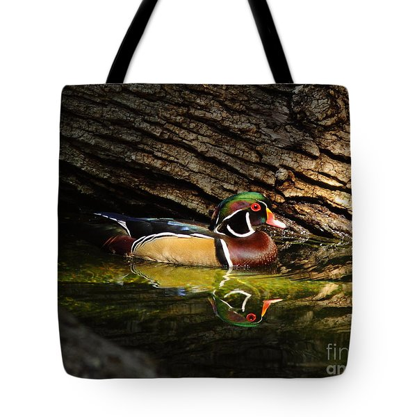 Wood Duck In Wood Tote Bag by Robert Frederick