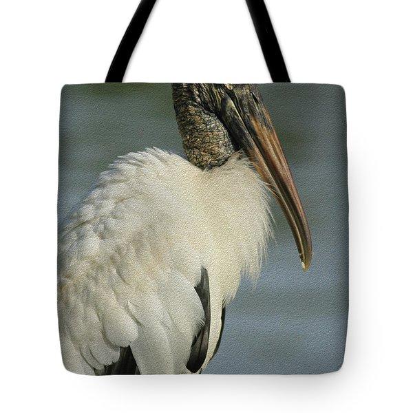 Wood Stork In Oil Tote Bag