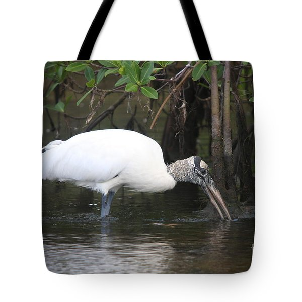 Wood Stork In The Swamp Tote Bag by Christiane Schulze Art And Photography