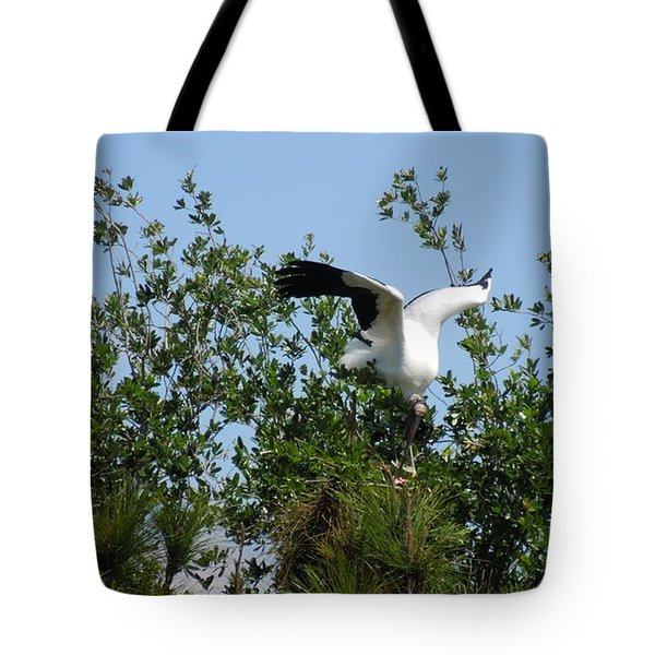 Tote Bag featuring the photograph Wood Stork by Ron Davidson