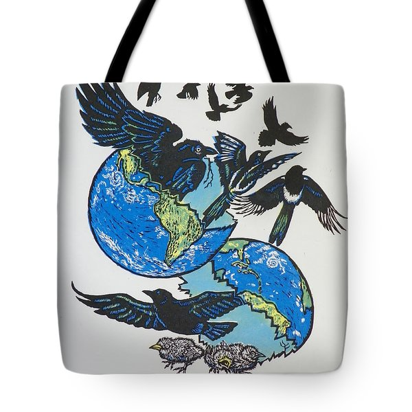 Woodcut Cover Illustration For Corvidae - Poems By Bj Buckley Tote Bag by Dawn Senior-Trask