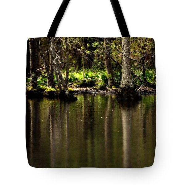 Wooded Reflection Tote Bag by Karol Livote