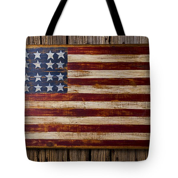 Wooden American Flag On Wood Wall Tote Bag by Garry Gay