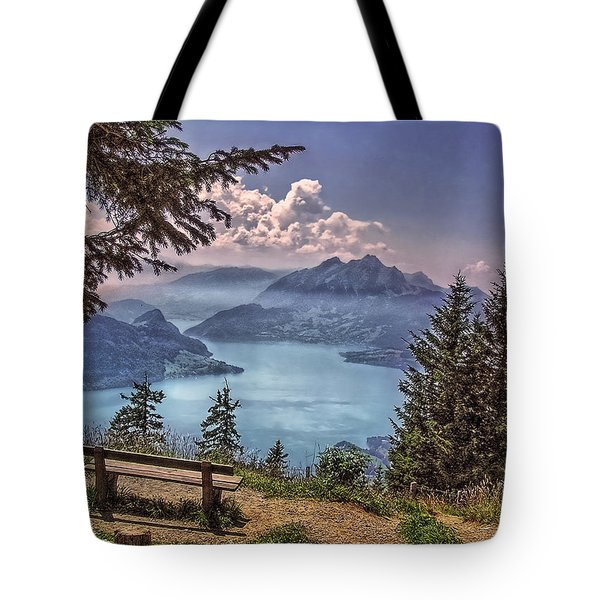 Wooden Bench Tote Bag by Hanny Heim