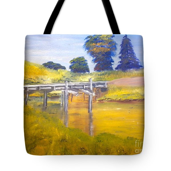 Tote Bag featuring the painting Wooden Bridge At Graften by Pamela  Meredith