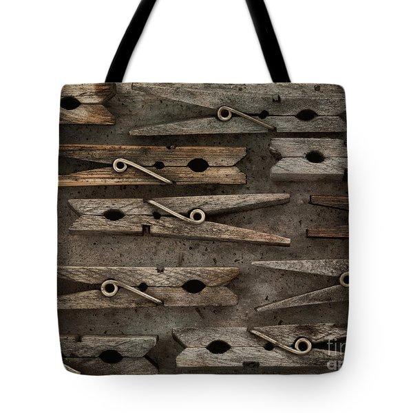 Wooden Clothespins Tote Bag by Priska Wettstein