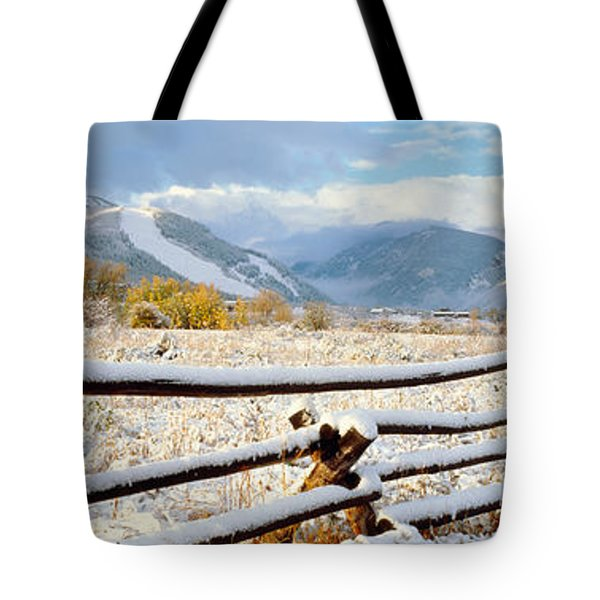 Wooden Fence Covered With Snow Tote Bag