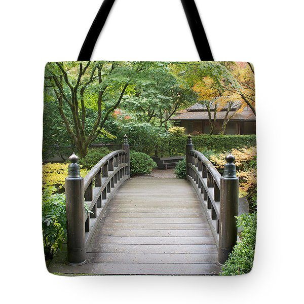 Tote Bag featuring the photograph Wooden Foot Bridge In Japanese Garden by JPLDesigns