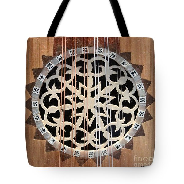 Wooden Guitar Inlay With Strings Tote Bag by Cynthia Snyder