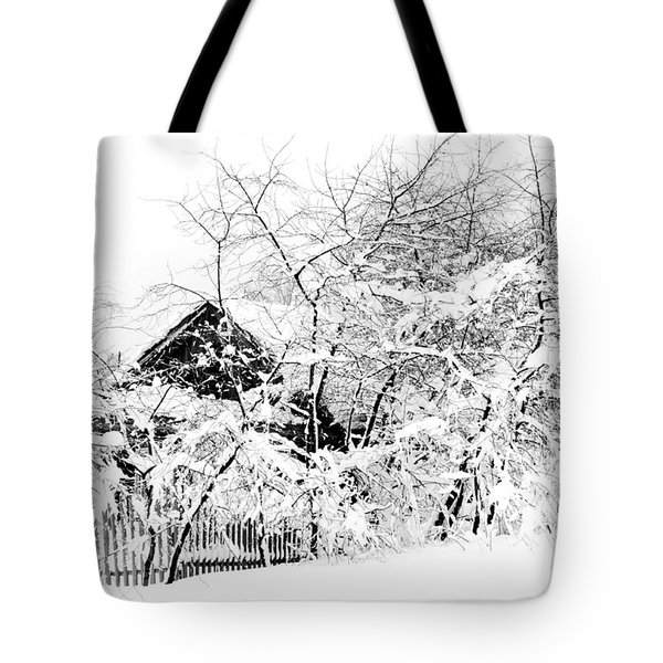 Wooden House After Heavy Snowfall. Russia Tote Bag