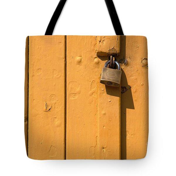 Wooden Plank Door Steel Lock Tote Bag