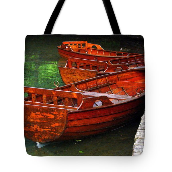 Tote Bag featuring the photograph Wooden Rowboats by Ramona Johnston