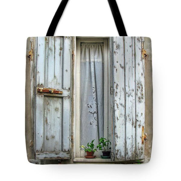 Wooden Shutters In Urbino Tote Bag