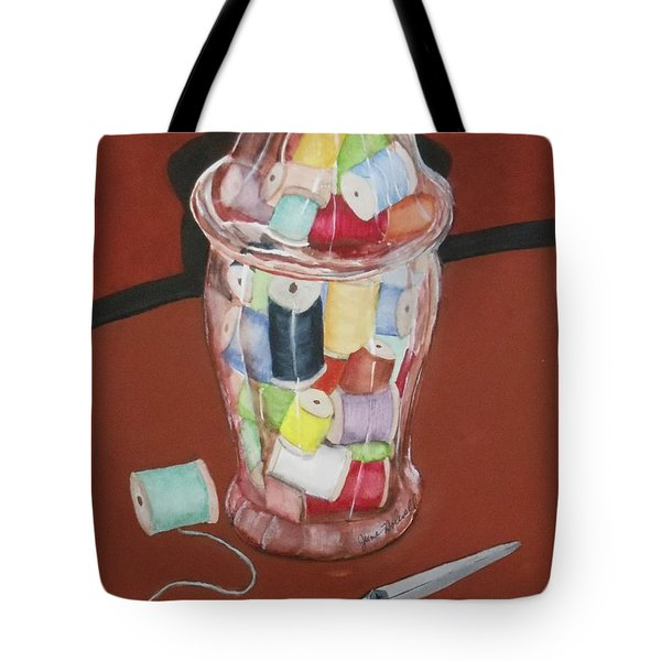 Wooden Spools Tote Bag by June Holwell