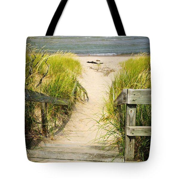 Wooden Stairs Over Dunes At Beach Tote Bag