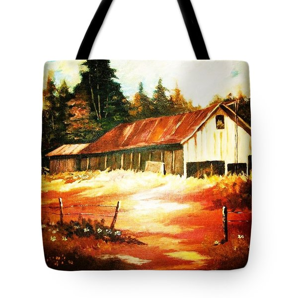 Woodland Barn In Autumn Tote Bag by Al Brown