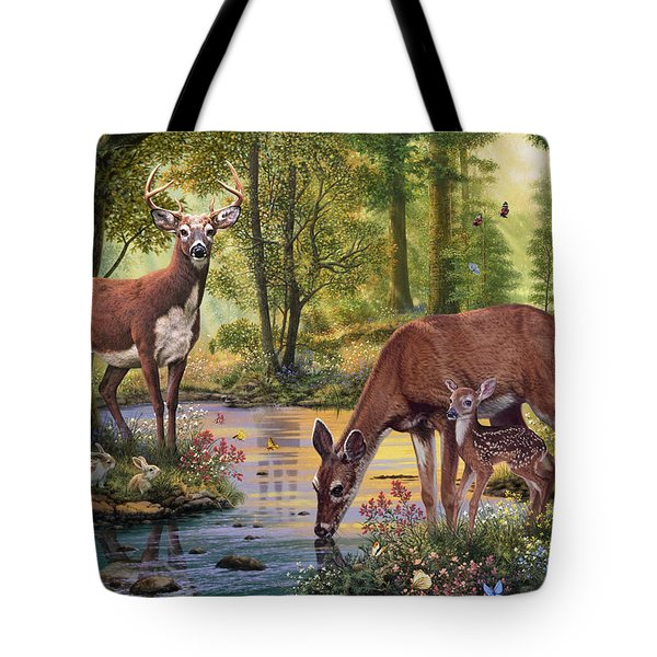 Woodland Stream Tote Bag by Steve Read