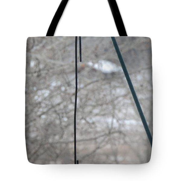 Tote Bag featuring the photograph Woodpecker And Chickadee by Dorrene BrownButterfield