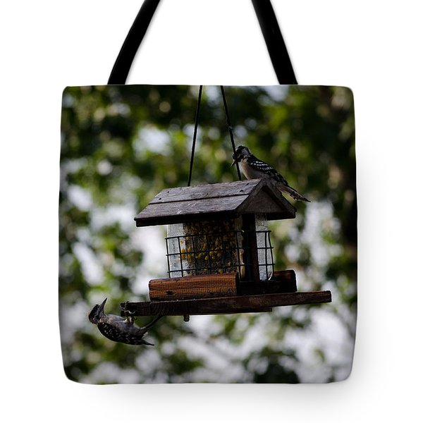 Woodpeckers At Dinner Tote Bag