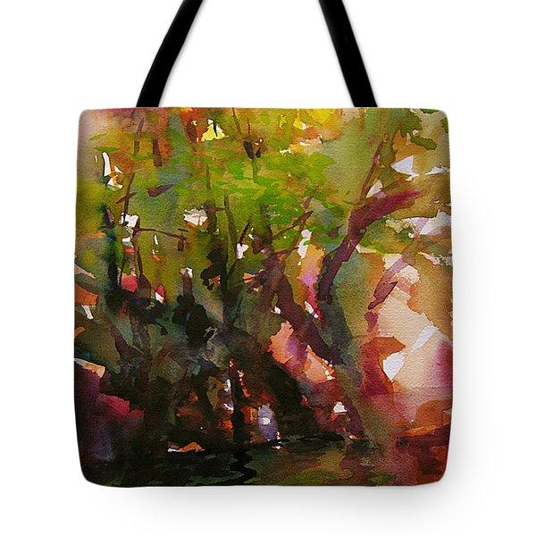 Woods And Creek Watercolor Tote Bag by Julianne Felton