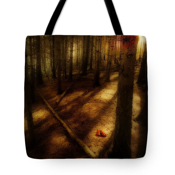 Tote Bag featuring the photograph Woods With Pine Cones by Meirion Matthias