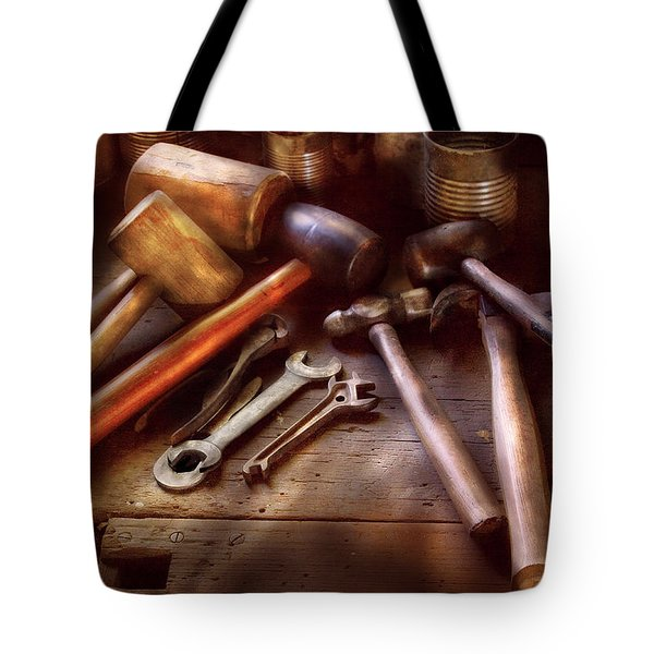 Woodworker - A Collection Of Hammers  Tote Bag by Mike Savad