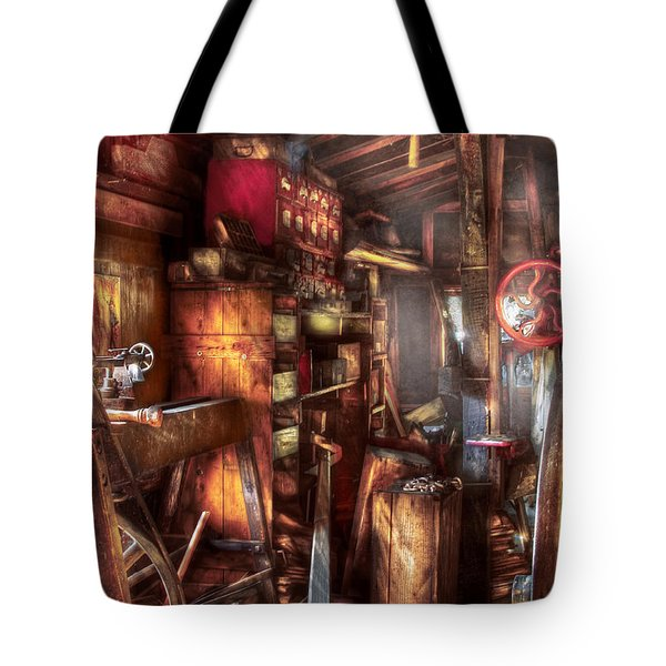 Woodworker - The Workshop Of A Very Busy Person Tote Bag by Mike Savad