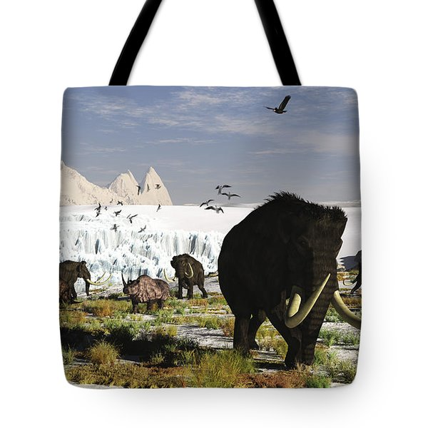 Woolly Mammoths And Woolly Rhinos Tote Bag