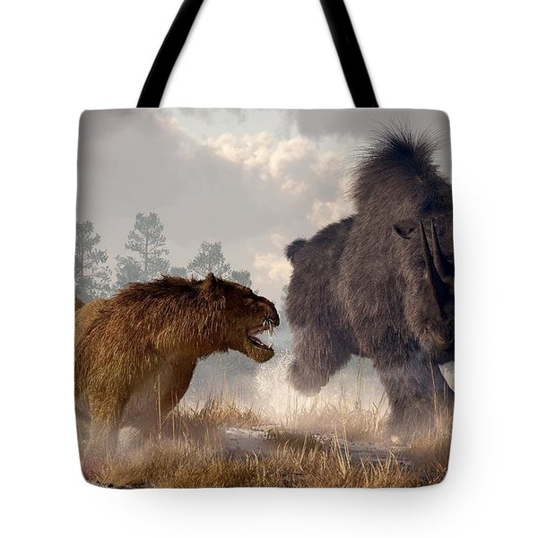 Tote Bag featuring the digital art Woolly Rhino And Cave Lion by Daniel Eskridge