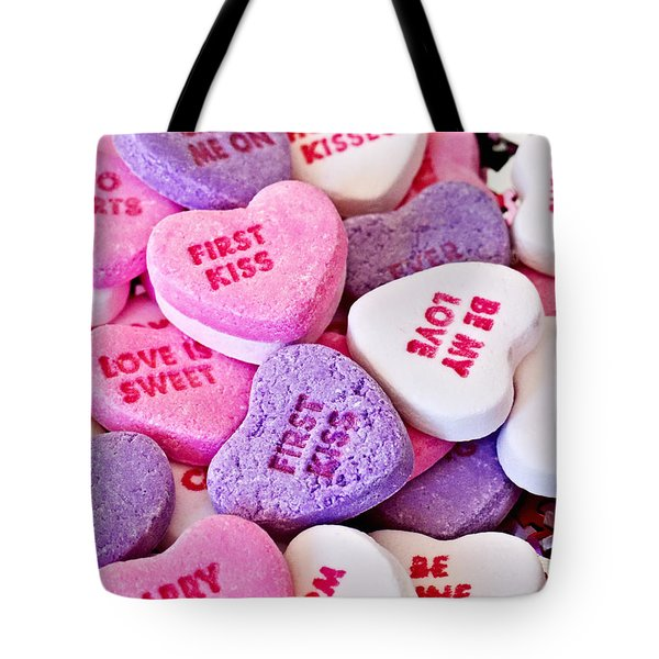 Tote Bag featuring the photograph Valentine Candy Hearts by Vizual Studio