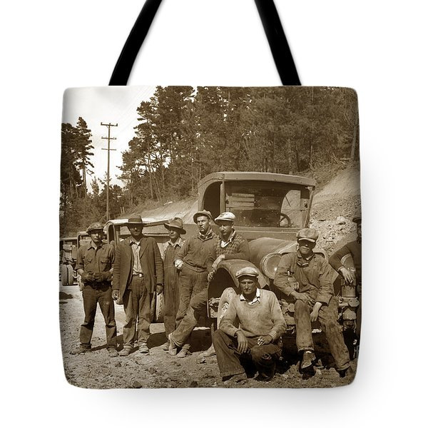 Workers On Highway One Monterey Carmel Hill California 1929 Tote Bag by California Views Mr Pat Hathaway Archives