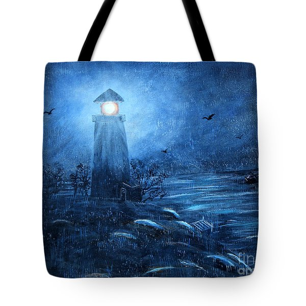 Working Night Shift In The Rain Tote Bag by Barbara Griffin