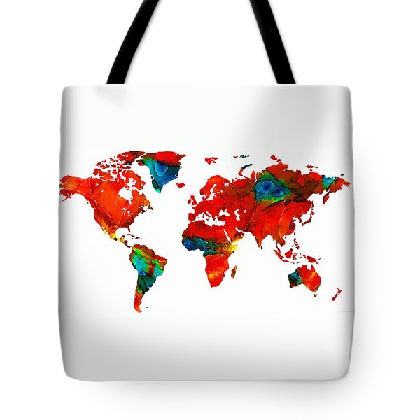 World Map 12 - Colorful Red Map By Sharon Cummings Tote Bag by Sharon Cummings
