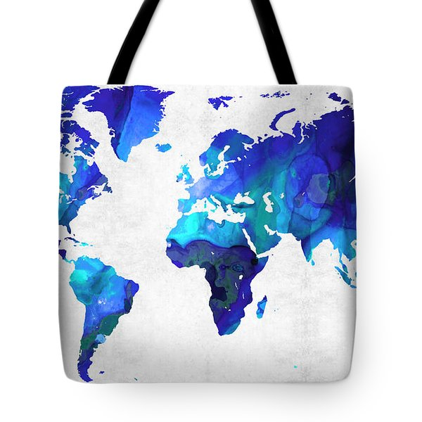 World Map 17 - Blue Art By Sharon Cummings Tote Bag