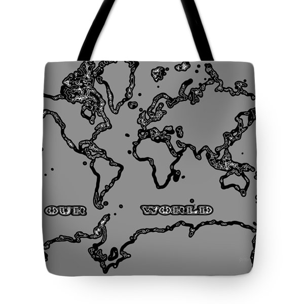 World Map Abstract Black And Grey Tote Bag by Eti Reid
